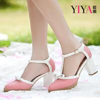 【毅雅】女鞋夏季新款 蝴蝶结粗跟防水台拼色高跟女凉鞋 2443666