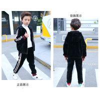 童装男童套装儿童中大童男孩加绒加厚卫衣两件套