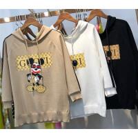 Y6卡通印花针织衫 女2018春装新款修身套头薄款上衣冰丝打底衫0.3