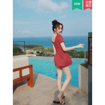 连体泳衣女红色仙女范遮肚显瘦ins风网红泳装新款裙式游泳衣 品质保证 售后无忧