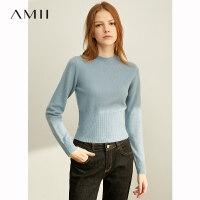 【到手价:96元】Amii极简洋气时尚毛衣女2019秋冬新款罗纹修身显瘦短款针织衫上衣