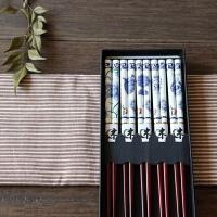 日式和风竹木 筷子竹筷 礼盒5双套装便携 结婚回礼品