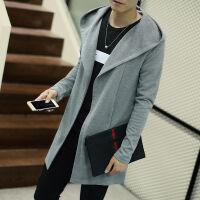 春款男士中长款连帽风衣韩版青年披风加肥加大码修身外套开衫