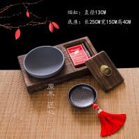 【好物】实木复古烟灰缸创意大号带盖个性中式摆件潮流家用客厅装饰品 灰色 升级不再生锈