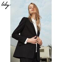 Lily2018春新款女装系腰带修身西装时尚显瘦黑色西装外套118129C2903