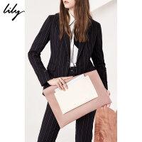 Lily2018春新款女装商务时尚两用包人造革手拿包118100BZ419