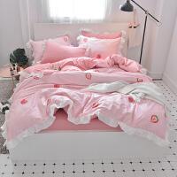 公主风床上用品A全棉B水洗四件套纯棉被套床单三件套1.5/1.8m床笠 1.5m(5英尺)床 床笠套件