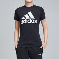adidas阿迪达斯女服短袖T恤2019新款圆领透气休闲运动服DZ0013