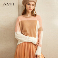 【品牌周到手价:117】Amii极简个性时尚慵懒风毛针织衫女2019冬季新款撞色拼接宽松上衣