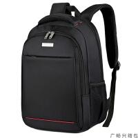双肩包男士背包时尚潮流休闲商务旅行包书包女14寸15寸电脑包高中学生书包 黑色 15寸