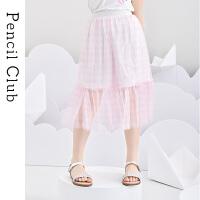 【2件1.5折价:34.2元】铅笔俱乐部童装女童半身裙薄款夏装2021大童裙子格子轻薄网纱