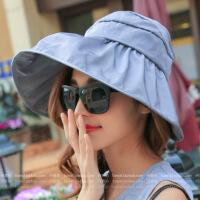 帽子女士遮阳帽夏天韩版潮防紫外线大沿沙滩防晒太阳帽可折叠凉帽 可调节