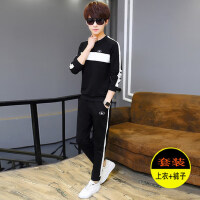 潮男韩版修身套装男士时尚帅气连帽套头卫衣长裤两件套 新款学生青少年运动套装