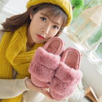 冬天棉拖鞋女士厚底室内防滑保暖毛拖鞋女冬季时尚高跟外穿居家居
