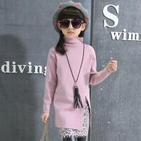 秋冬装厚款毛衣打底衫潮 女童蕾丝毛衣裙包臀儿童中大童