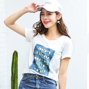 夏季新品百搭宽松创意图案印花圆领短袖T恤女棉显瘦小衫潮