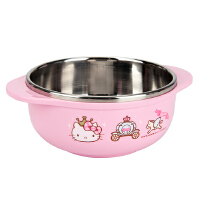 【当当自营】【韩国进口】乐扣乐扣 HELLO KITTY 婴幼儿不锈钢双耳隔热碗(粉色)LKT473