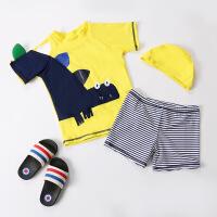 新款儿童泳衣男童宝宝可爱卡通男童分体泳衣韩国中小童泳装送泳帽 黄色恐龙