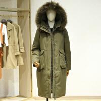 大毛领中长款印花羽绒服冬装新款 韩版宽松过膝休闲外套