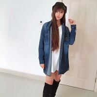 春装新款大码女装韩版胖MM中长款牛仔衬衫宽松长袖外