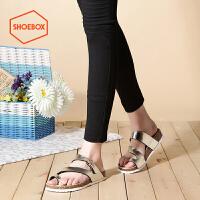 达芙妮旗下shoebox鞋柜夏季新套趾凉鞋简约时尚低跟平底女鞋