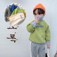 棉小班童装儿童卫衣新款冬装男童假两件高领加绒上衣