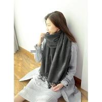 2017秋冬季围巾女士韩版百搭长款加厚 纯色七色围巾披肩两用