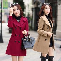 气质毛呢外套女中长款韩版2017新款潮冬季chic时尚小个子妮子大衣