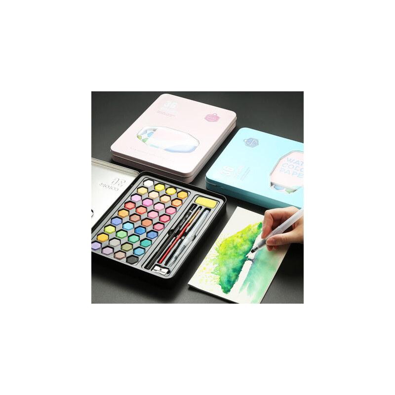 水彩颜料套装36色固体水彩颜料盒便携式铁盒初学者水粉饼手绘儿童学生用固态色彩画便携画笔绘画工具画画套装