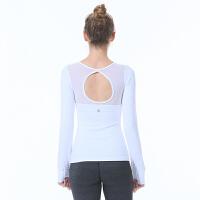 美背瑜伽服上装长袖带胸垫运动t恤紧身网纱健身衣秋冬款速干衣女