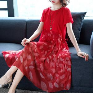AGECENTRE红色印花短袖连衣裙中长款2018春装新款宽松大码仙女裙子夏