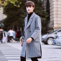 秋冬季男士风衣韩版帅气时尚休闲宽松长款毛呢大衣男外套潮 灰色