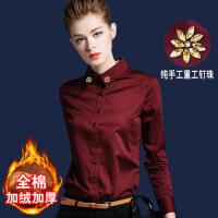 加绒衬衫女长袖酒红色寸保暖加厚2018新款打底内搭韩版女装红衬衣 酒红色(加绒加厚) 手工钉珠