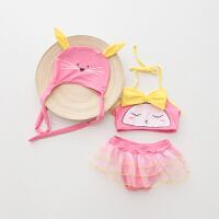 儿童泳衣女孩分体比基尼可爱卡通小猫咪女童宝宝婴儿游泳衣