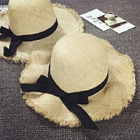 儿童草帽女夏天沙滩帽大沿遮阳帽宝宝帽子防晒海边度假亲子帽母女