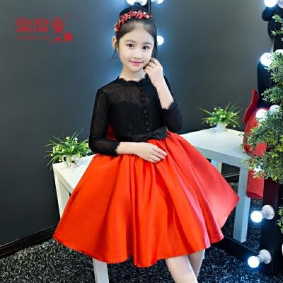 儿童婚纱蓬蓬裙小主持人演出服女童走秀晚礼服长袖厚款公主裙冬季