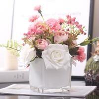玫瑰仿真花束带假花瓶客厅装饰高品质小饰品摆件ins北欧餐桌花艺