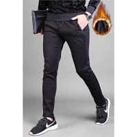 男士加绒加厚卫裤修身小刺绣弹力冬天外穿时尚保暖休闲运动直筒裤 黑色 加绒