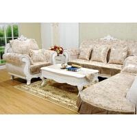 欧式实木沙发垫布艺 简约 米咖色真皮沙发套罩布 防滑提花沙发巾
