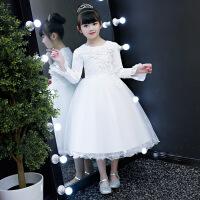儿童公主白纱裙加绒女童连衣裙礼服冬季长裙长袖10岁生日表演冬红