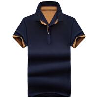 夏季男士短袖t恤男翻领休闲POLO衫纯色半袖上衣衬衫领体恤