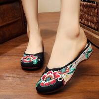 老北京布鞋女芙蓉花拖鞋帆布拼亚麻民族风绣花鞋女士休闲女鞋子