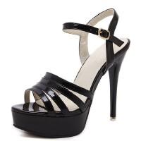 超高跟鞋女细跟性感露趾镂空凉鞋女韩版新款防水台黑色一字扣 黑色
