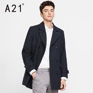 以纯A21男装外套 秋冬新款修身纯色呢料男外套 舒适保暖气质休闲外衣
