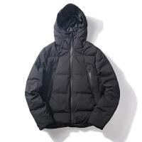 新款冬季保暖简约纯色羽绒服男连帽 青年潮流户外休闲厚外套