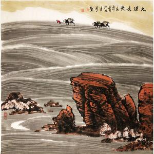 周尊圣《大漠长歌》著名画家