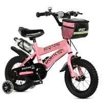 儿童三轮车脚踏车轻便-2-3-4-5-6岁男女孩自行车大号宝宝手推车 豪华粉色 闪光轮礼包水壶户外筐