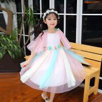 公主裙女童夏季新款儿童裙子女孩蓬蓬纱裙连衣裙中大童彩虹裙