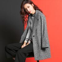七格格冬新款 中长款长袖西装领一粒扣7%羊毛呢大衣外套女CX487
