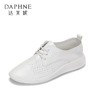 Daphne/达芙妮 春休闲平底鞋 百搭圆头透气系带单鞋